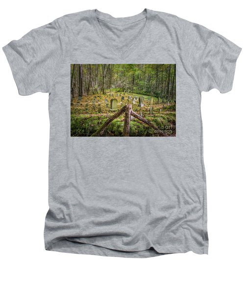 Bales Cemetery Men's V-Neck T-Shirt by Patrick Shupert