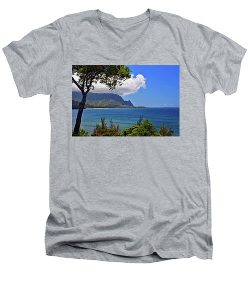 Bali Hai Hawaii Men's V-Neck T-Shirt by Marie Hicks