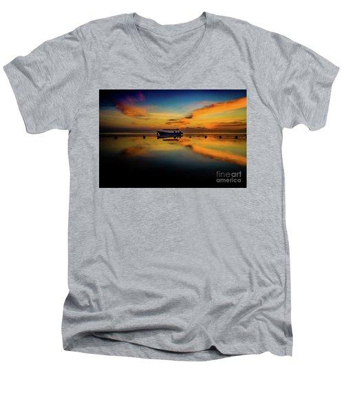 Bali Sunrise 3 Men's V-Neck T-Shirt by M G Whittingham