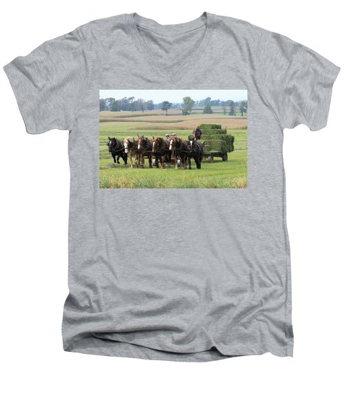 Baling The Hay Men's V-Neck T-Shirt