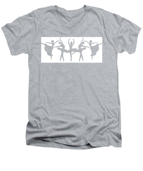 Ballerinas Dancing Silhouettes Men's V-Neck T-Shirt