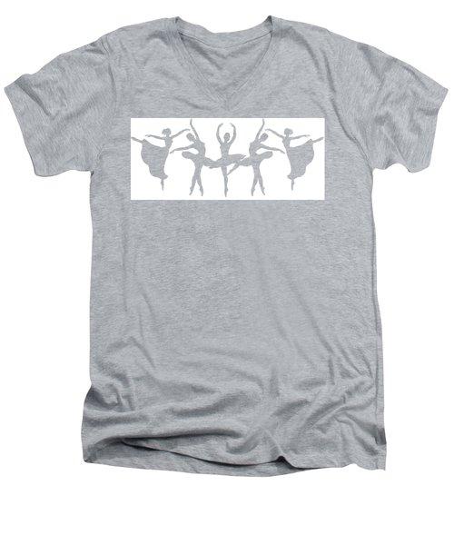 Ballerinas Dancing Silhouettes Men's V-Neck T-Shirt