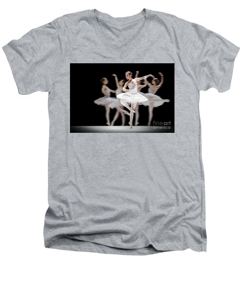 Men's V-Neck T-Shirt featuring the photograph Ballet Dancer Dance Photography Long Exposure by Dimitar Hristov