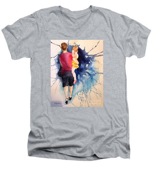 Men's V-Neck T-Shirt featuring the painting Ballet Mum - Original Sold by Therese Alcorn
