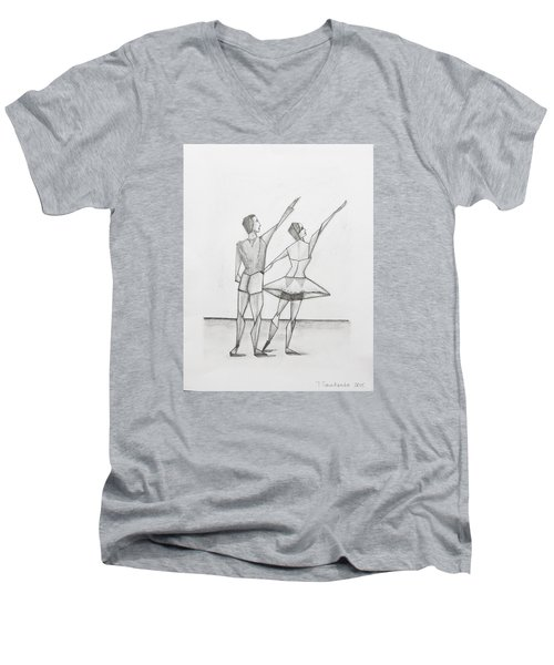 Ballet Men's V-Neck T-Shirt by Tamara Savchenko