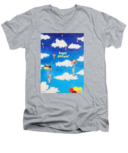 Balloon Girls Birthday Greeting Card Men's V-Neck T-Shirt