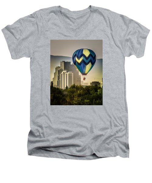 Men's V-Neck T-Shirt featuring the photograph Balloon Over Reno by Janis Knight