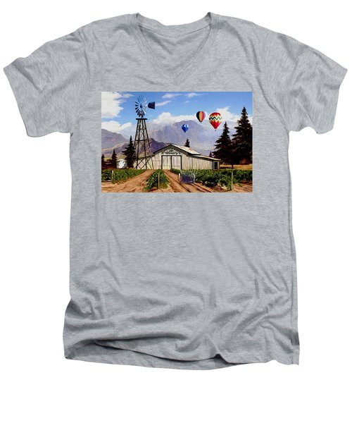 Balloons Over The Winery 1 Men's V-Neck T-Shirt