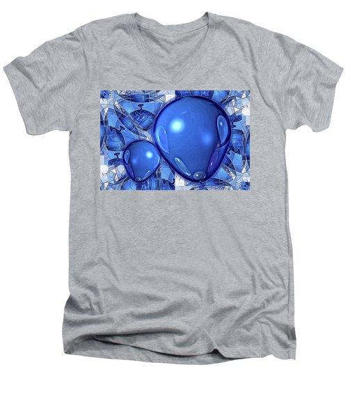 Men's V-Neck T-Shirt featuring the digital art Balloons by Ron Bissett