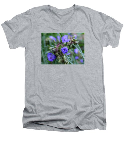 Men's V-Neck T-Shirt featuring the photograph Balmy Blue by Michiale Schneider