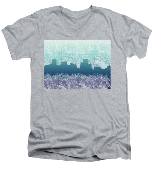 Men's V-Neck T-Shirt featuring the painting Baltimore City Skyline Map 2 by Bekim Art