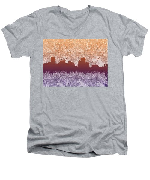Men's V-Neck T-Shirt featuring the painting Baltimore City Skyline Map by Bekim Art