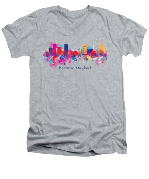 Baltimore Maryland Skyline For T-shirts And Accessories Men's V-Neck T-Shirt