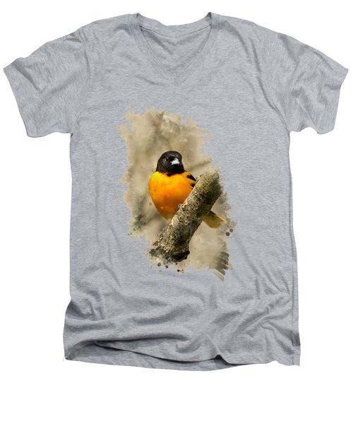 Baltimore Oriole Watercolor Art Men's V-Neck T-Shirt by Christina Rollo