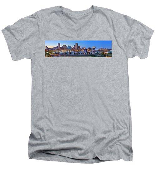 Baltimore Skyline Inner Harbor Panorama At Dusk Men's V-Neck T-Shirt by Jon Holiday