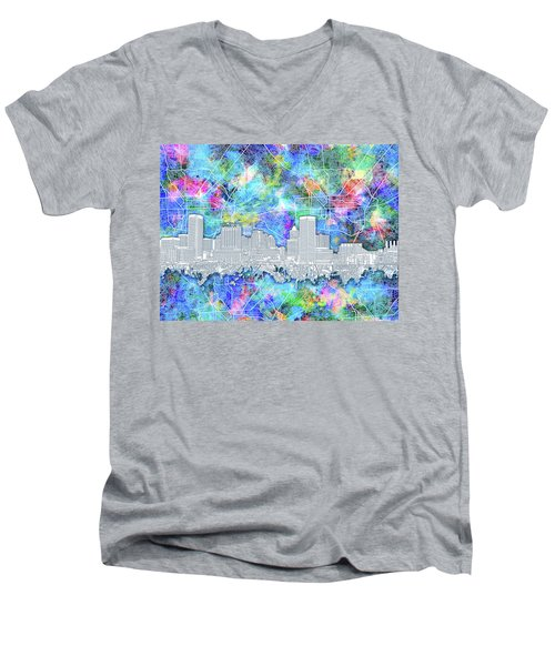 Men's V-Neck T-Shirt featuring the painting Baltimore Skyline Watercolor 14 by Bekim Art