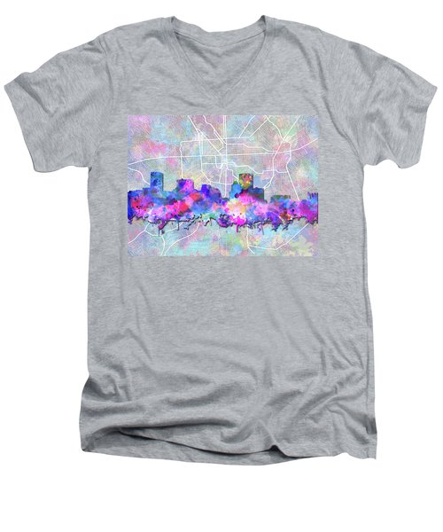 Men's V-Neck T-Shirt featuring the painting Baltimore Skyline Watercolor 6 by Bekim Art