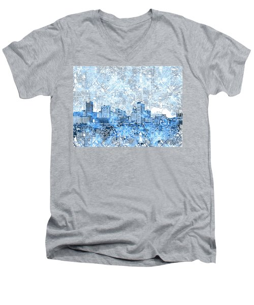 Men's V-Neck T-Shirt featuring the painting Baltimore Skyline Watercolor 9 by Bekim Art