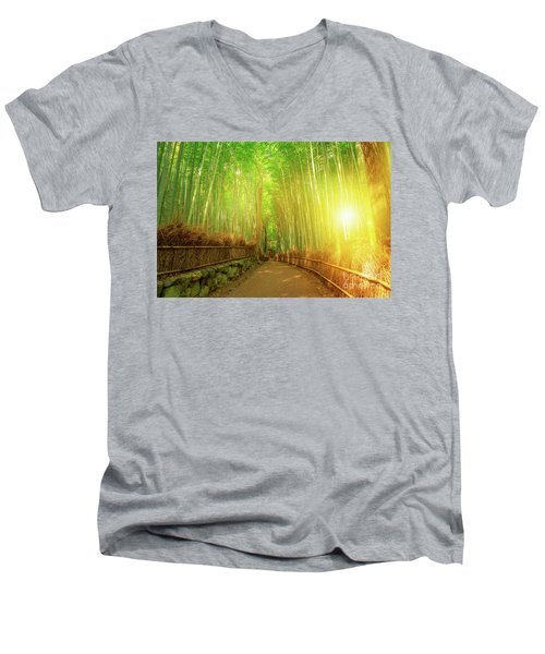 Bamboo Grove Arashiyama Kyoto Men's V-Neck T-Shirt