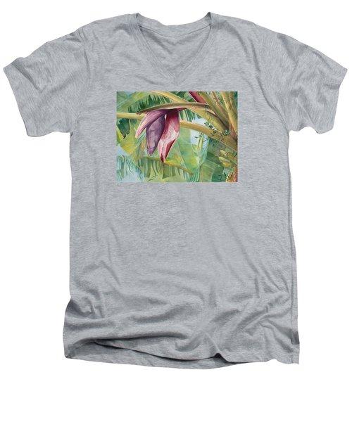 Banana Flower Men's V-Neck T-Shirt by AnnaJo Vahle