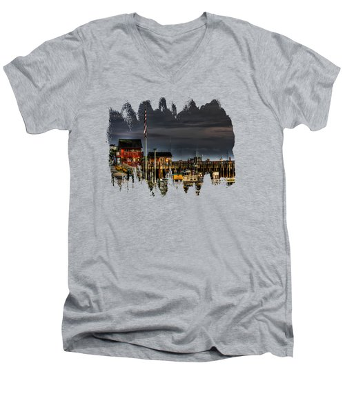 Men's V-Neck T-Shirt featuring the photograph Bandon Boat Basin At Dawn by Thom Zehrfeld