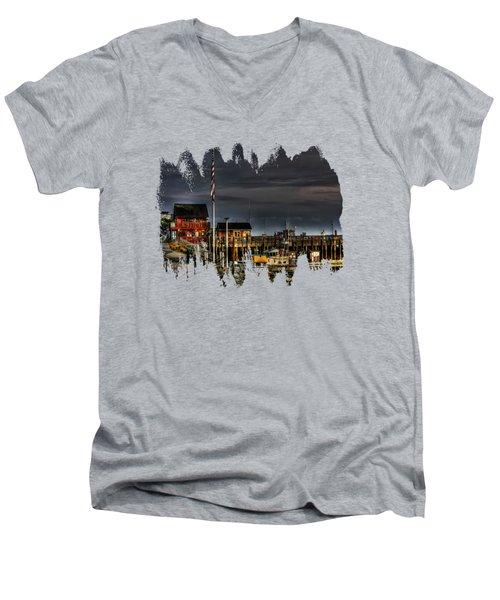 Bandon Boat Basin At Dawn Men's V-Neck T-Shirt