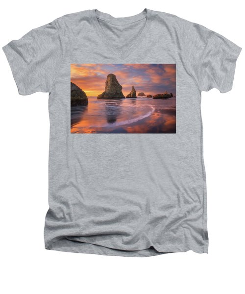 Men's V-Neck T-Shirt featuring the photograph Bandon's New Years Eve Light Show by Darren White