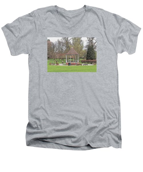 Men's V-Neck T-Shirt featuring the drawing Bandstand Games by Paul Gulliver