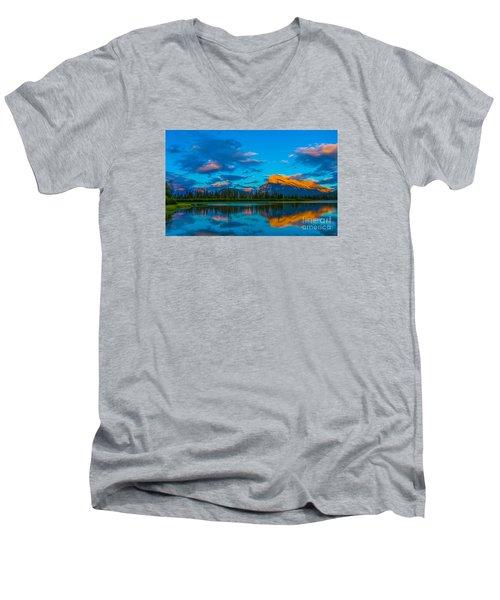 Banff Vermillion Lakes Men's V-Neck T-Shirt by John Roberts