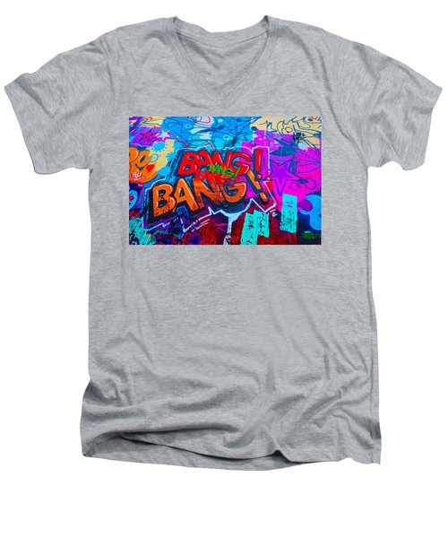 Bang Graffiti Nyc 2014 Men's V-Neck T-Shirt by Joan Reese