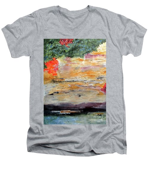 Men's V-Neck T-Shirt featuring the painting Bank Of The Gauley River by Sandy McIntire