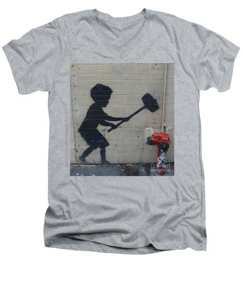 Banksy In New York Men's V-Neck T-Shirt