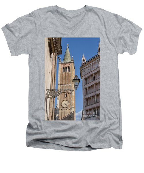 Baptistery And Cathedral In Parma Men's V-Neck T-Shirt by Patricia Hofmeester