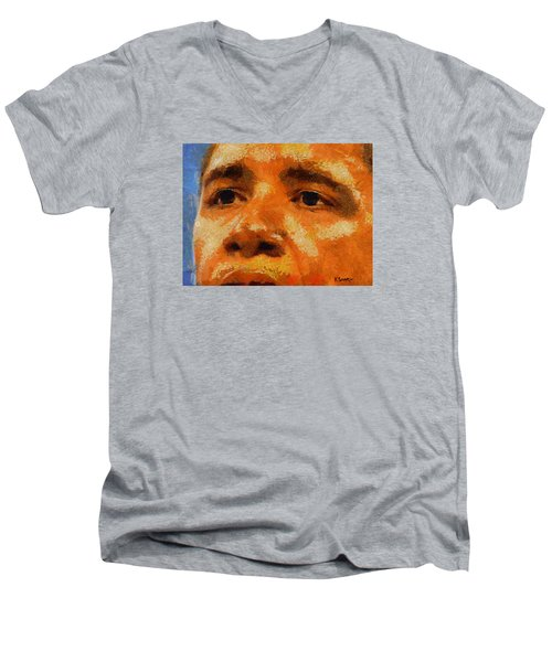 Barack Men's V-Neck T-Shirt by Kai Saarto
