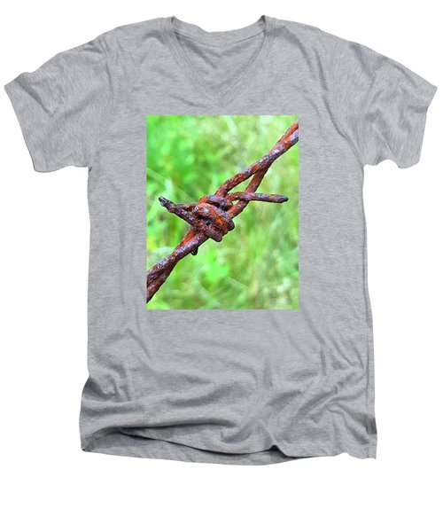 Men's V-Neck T-Shirt featuring the photograph Barbed by Bruce Carpenter