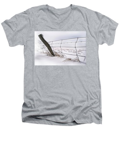 Barbed Wire And Hoar Frost Men's V-Neck T-Shirt by Dan Jurak