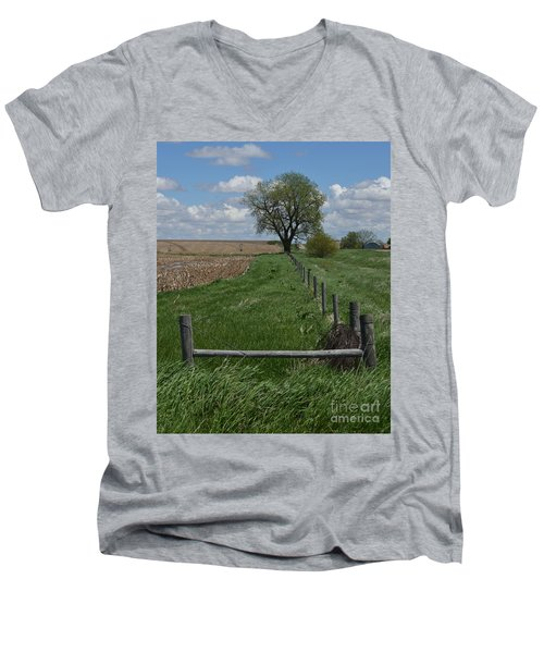 Barbed Wire Fence Line Men's V-Neck T-Shirt by Renie Rutten