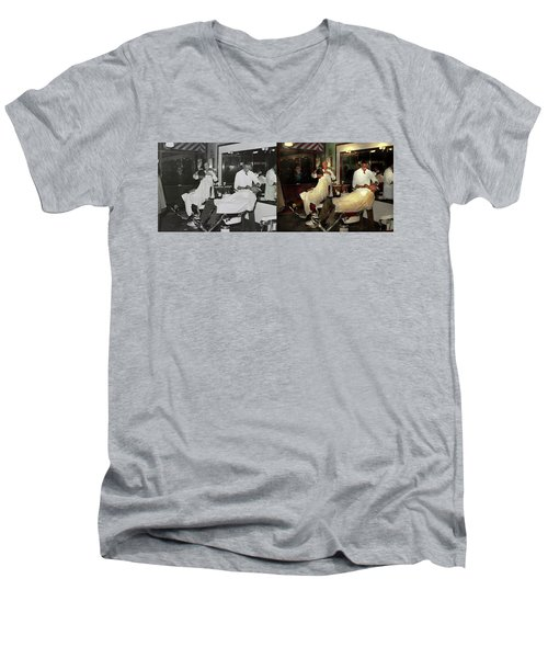 Men's V-Neck T-Shirt featuring the photograph Barber - A Time Honored Tradition 1941 - Side By Side by Mike Savad