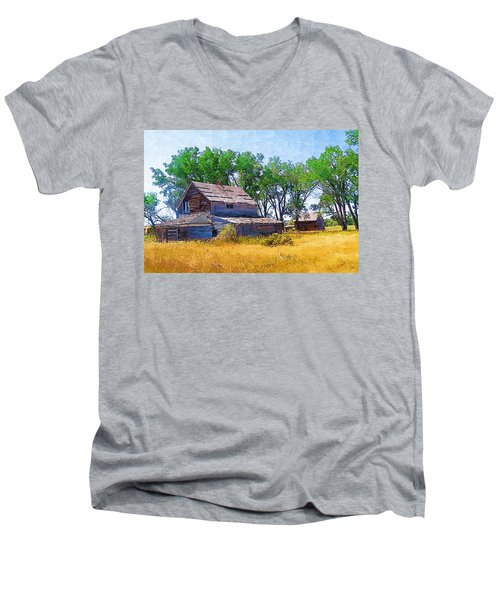Men's V-Neck T-Shirt featuring the photograph Barber Homestead by Susan Kinney