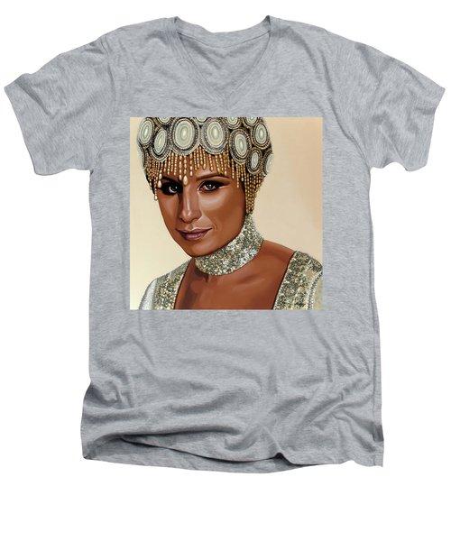 Barbra Streisand 2 Men's V-Neck T-Shirt by Paul Meijering