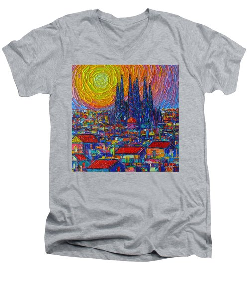 Barcelona Colorful Sunset Over Sagrada Familia Abstract City Knife Oil Painting Ana Maria Edulescu Men's V-Neck T-Shirt