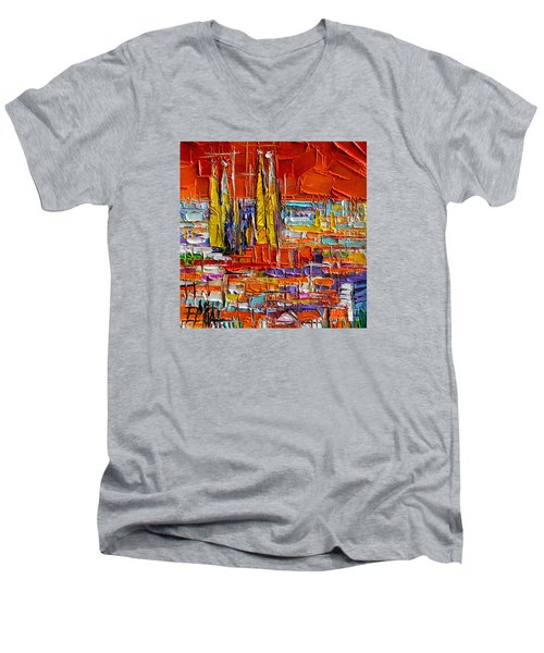 Barcelona Sagrada Familia View From Parc Guell Abstract Palette Knife Oil Painting Men's V-Neck T-Shirt