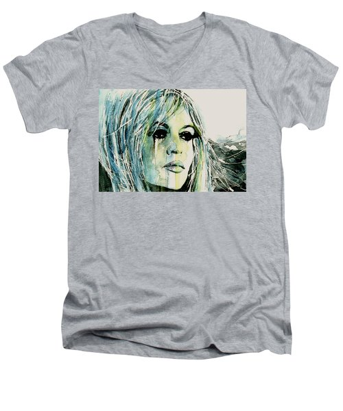 Men's V-Neck T-Shirt featuring the painting Bardot by Paul Lovering