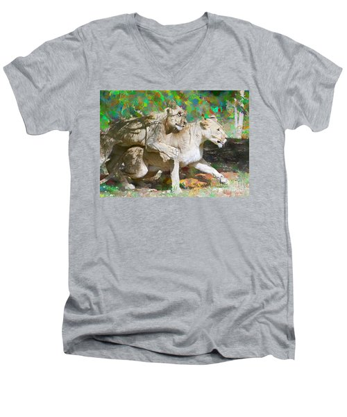 Men's V-Neck T-Shirt featuring the painting Bare Back by Judy Kay