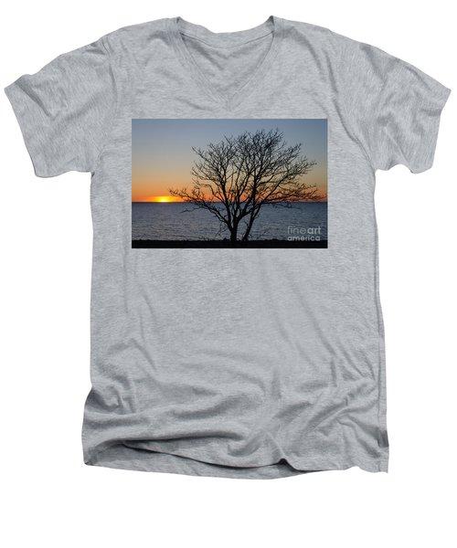 Bare Tree At Sunset Men's V-Neck T-Shirt by Kennerth and Birgitta Kullman