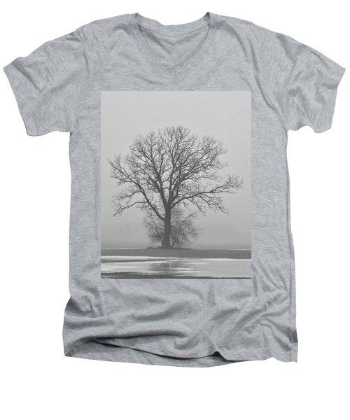 Bare Tree In Fog Men's V-Neck T-Shirt by Nancy Landry