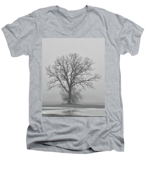 Bare Tree In Fog Men's V-Neck T-Shirt