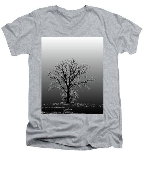 Bare Tree In Fog- Pe Filter Men's V-Neck T-Shirt