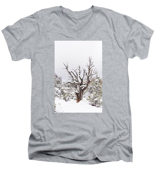 Men's V-Neck T-Shirt featuring the photograph Bark And White by Laura Pratt