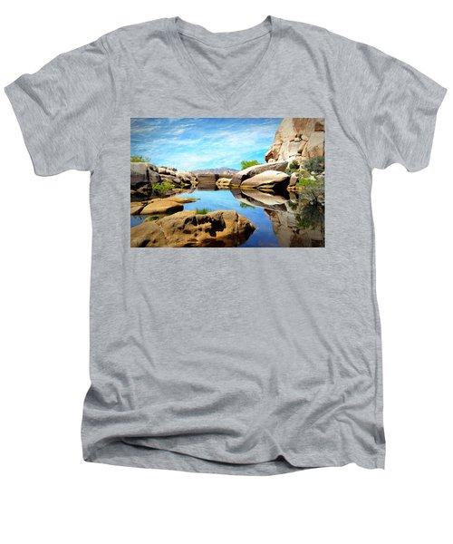 Men's V-Neck T-Shirt featuring the photograph Barker Dam - Joshua Tree National Park by Glenn McCarthy Art and Photography